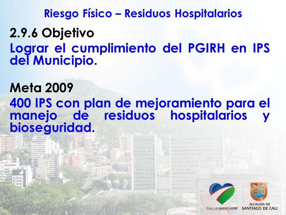Riesgo Físico – Residuos Hospitalarios 2.9.6 Objetivo Lograr el cumplimiento del PGIRH en IPS del Municipio. Meta 2009 400 IPS con plan de mejoramient