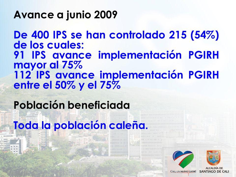 Avance a junio 2009 De 400 IPS se han controlado 215 (54%) de los cuales: 91 IPS avance implementación PGIRH mayor al 75% 112 IPS avance implementación PGIRH entre el 50% y el 75% Población beneficiada Toda la población caleña.