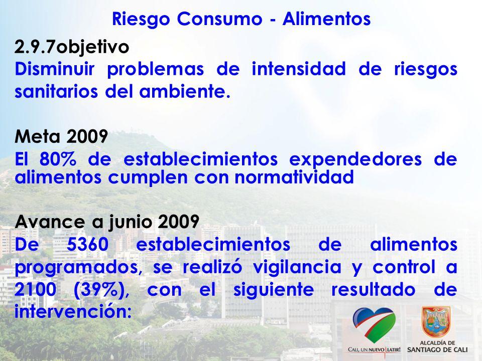 Riesgo Consumo - Alimentos 2.9.7objetivo Disminuir problemas de intensidad de riesgos sanitarios del ambiente. Meta 2009 El 80% de establecimientos ex