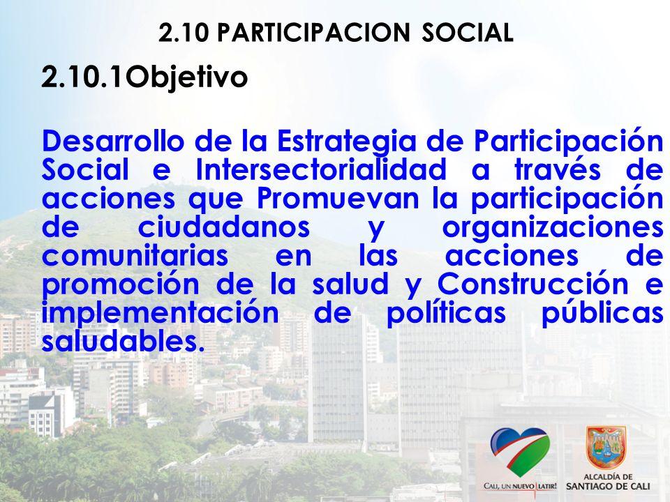 2.10 PARTICIPACION SOCIAL 2.10.1Objetivo Desarrollo de la Estrategia de Participación Social e Intersectorialidad a través de acciones que Promuevan la participación de ciudadanos y organizaciones comunitarias en las acciones de promoción de la salud y Construcción e implementación de políticas públicas saludables.