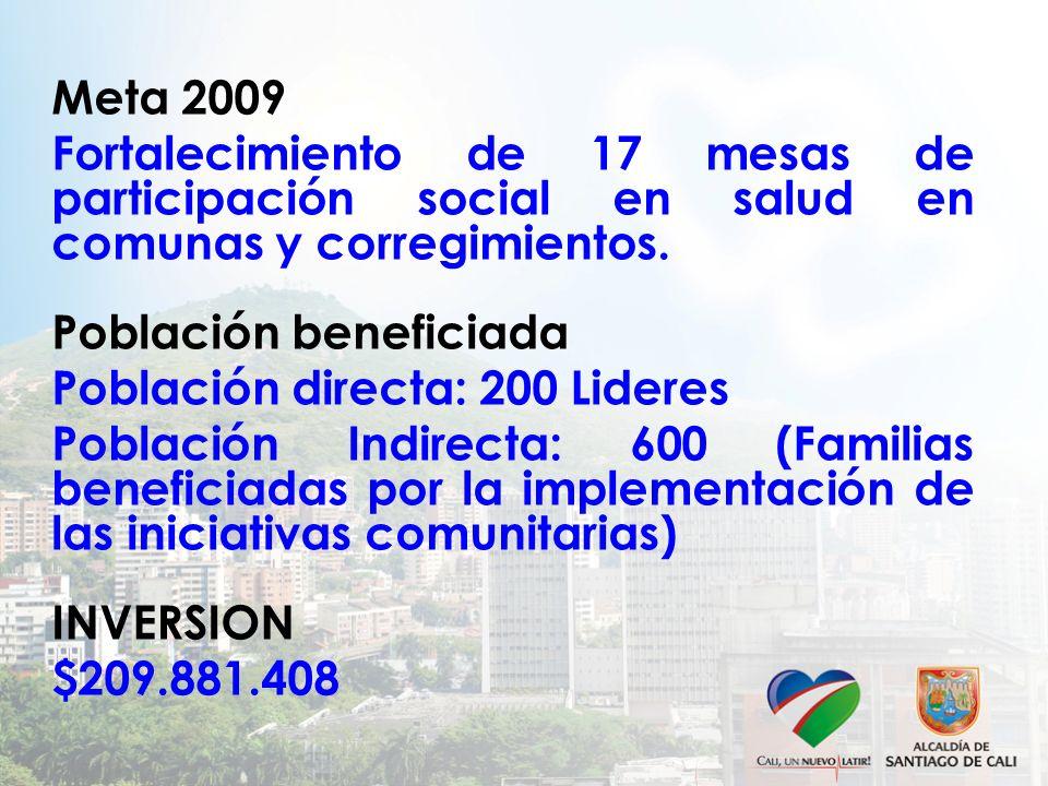 Meta 2009 Fortalecimiento de 17 mesas de participación social en salud en comunas y corregimientos. Población beneficiada Población directa: 200 Lider