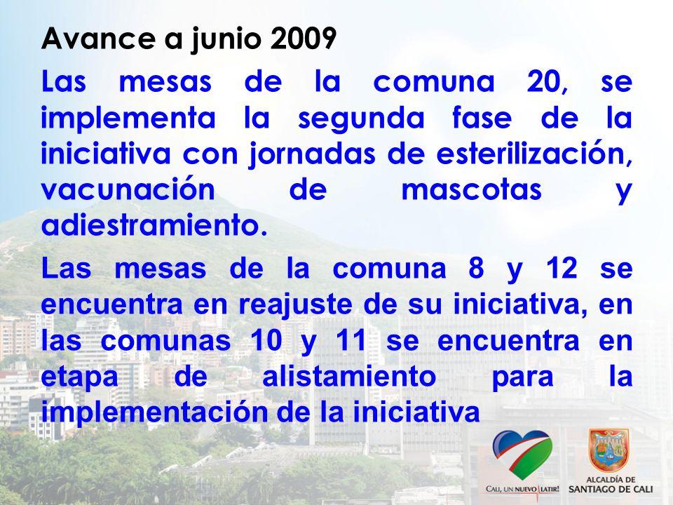 Avance a junio 2009 Las mesas de la comuna 20, se implementa la segunda fase de la iniciativa con jornadas de esterilización, vacunación de mascotas y adiestramiento.