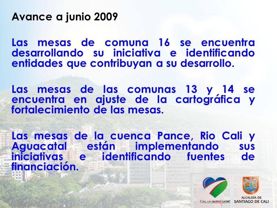 Avance a junio 2009 Las mesas de comuna 16 se encuentra desarrollando su iniciativa e identificando entidades que contribuyan a su desarrollo. Las mes
