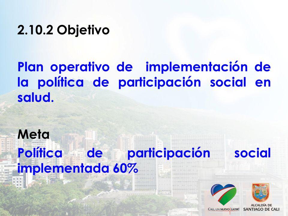 2.10.2 Objetivo Plan operativo de implementación de la política de participación social en salud. Meta Política de participación social implementada 6