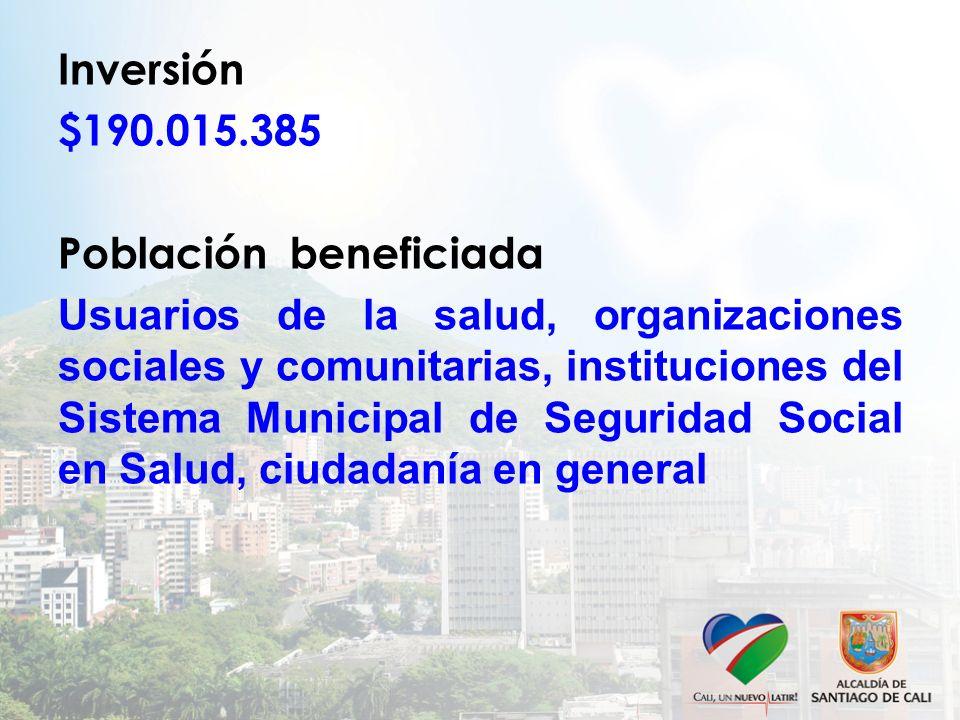 Inversión $190.015.385 Población beneficiada Usuarios de la salud, organizaciones sociales y comunitarias, instituciones del Sistema Municipal de Segu