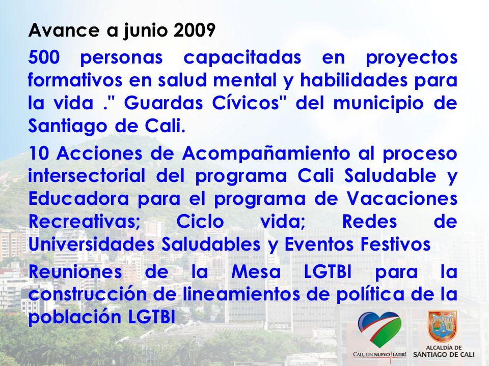 Avance a junio 2009 500 personas capacitadas en proyectos formativos en salud mental y habilidades para la vida. Guardas Cívicos del municipio de Santiago de Cali.