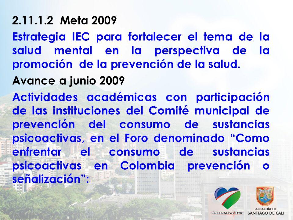 2.11.1.2 Meta 2009 Estrategia IEC para fortalecer el tema de la salud mental en la perspectiva de la promoción de la prevención de la salud. Avance a