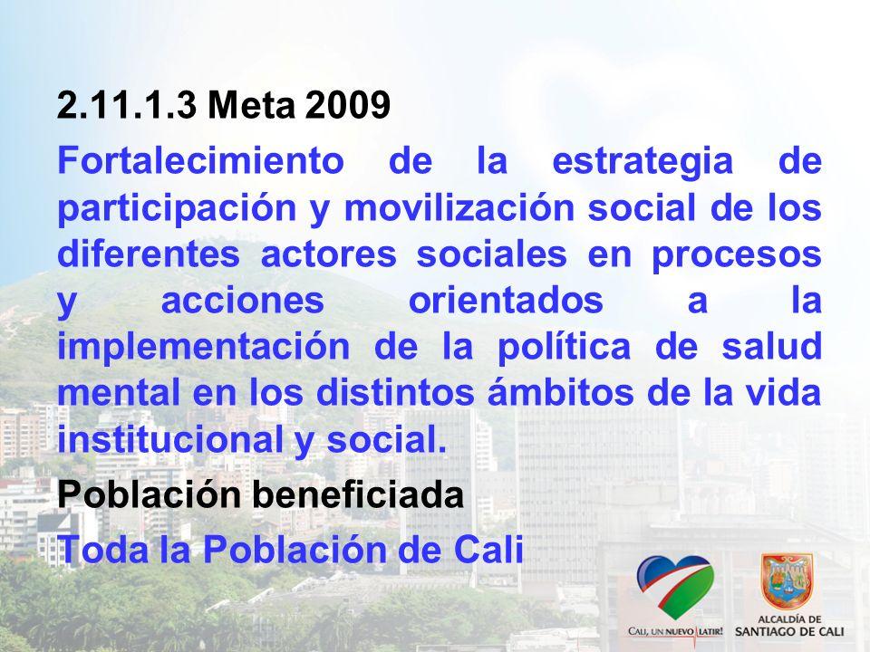 2.11.1.3 Meta 2009 Fortalecimiento de la estrategia de participación y movilización social de los diferentes actores sociales en procesos y acciones orientados a la implementación de la política de salud mental en los distintos ámbitos de la vida institucional y social.