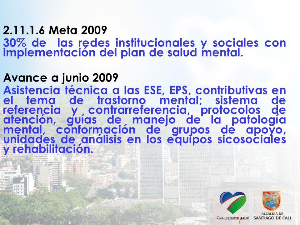 2.11.1.6 Meta 2009 30% de las redes institucionales y sociales con implementación del plan de salud mental. Avance a junio 2009 Asistencia técnica a l