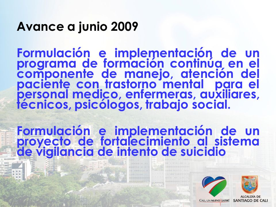 Avance a junio 2009 Formulación e implementación de un programa de formación continúa en el componente de manejo, atención del paciente con trastorno mental para el personal medico, enfermeras, auxiliares, técnicos, psicólogos, trabajo social.