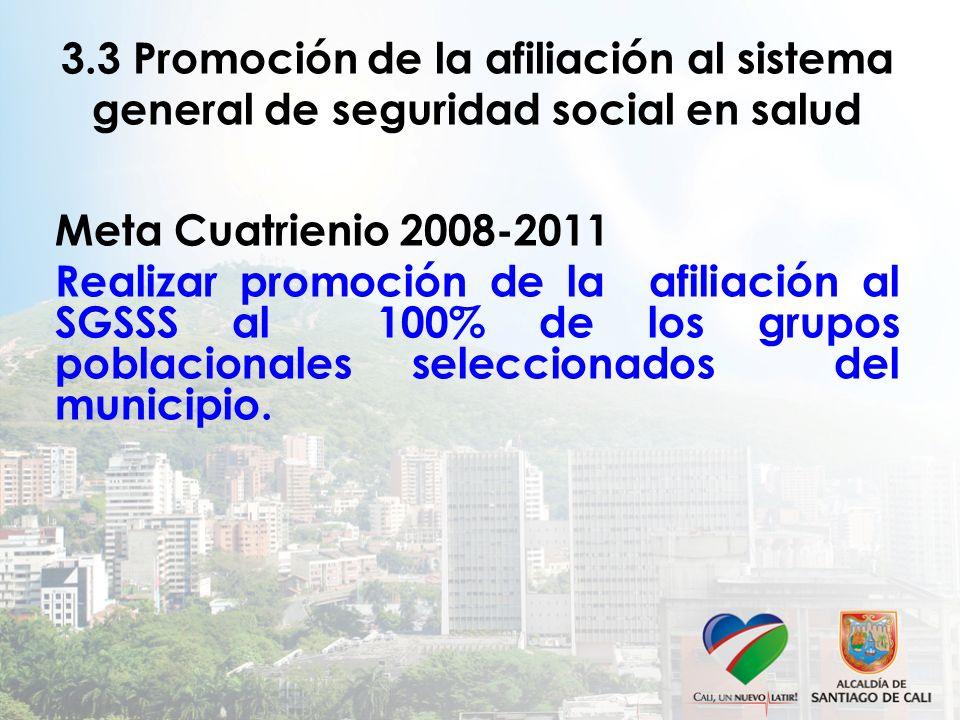 3.3 Promoción de la afiliación al sistema general de seguridad social en salud Meta Cuatrienio 2008-2011 Realizar promoción de la afiliación al SGSSS