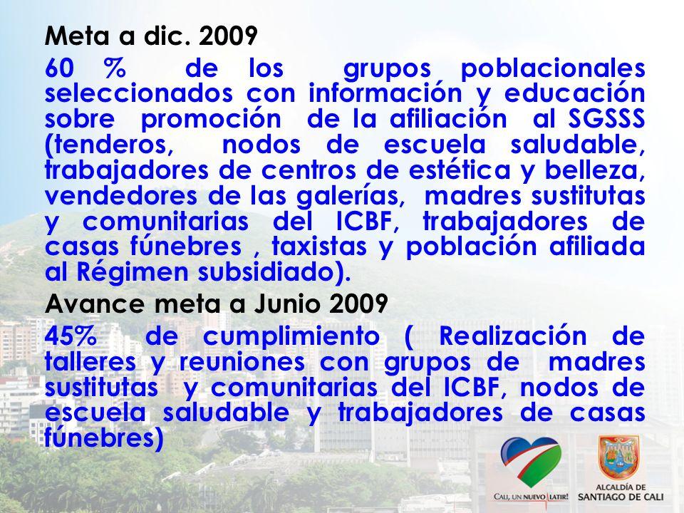 Meta a dic. 2009 60 % de los grupos poblacionales seleccionados con información y educación sobre promoción de la afiliación al SGSSS (tenderos, nodos