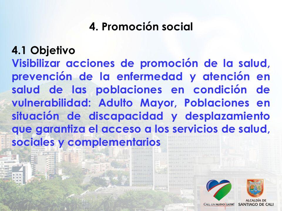 4. Promoción social 4.1 Objetivo Visibilizar acciones de promoción de la salud, prevención de la enfermedad y atención en salud de las poblaciones en
