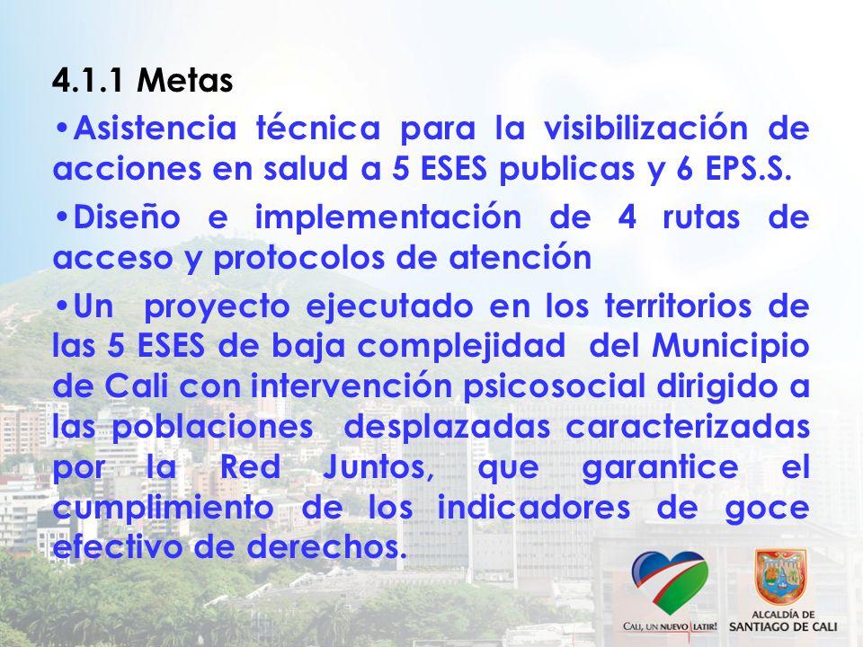 4.1.1 Metas Asistencia técnica para la visibilización de acciones en salud a 5 ESES publicas y 6 EPS.S. Diseño e implementación de 4 rutas de acceso y