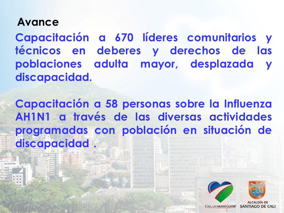 Avance Capacitación a 670 líderes comunitarios y técnicos en deberes y derechos de las poblaciones adulta mayor, desplazada y discapacidad. Capacitaci