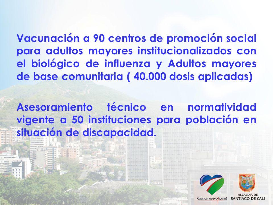 Vacunación a 90 centros de promoción social para adultos mayores institucionalizados con el biológico de influenza y Adultos mayores de base comunitar