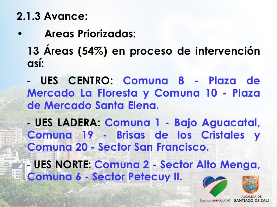 2.1.3 Avance: Areas Priorizadas: 13 Áreas (54%) en proceso de intervención así: - UES CENTRO: Comuna 8 - Plaza de Mercado La Floresta y Comuna 10 - Pl