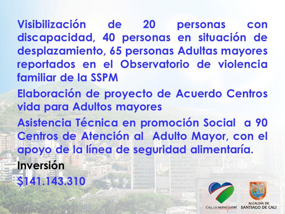 Visibilización de 20 personas con discapacidad, 40 personas en situación de desplazamiento, 65 personas Adultas mayores reportados en el Observatorio