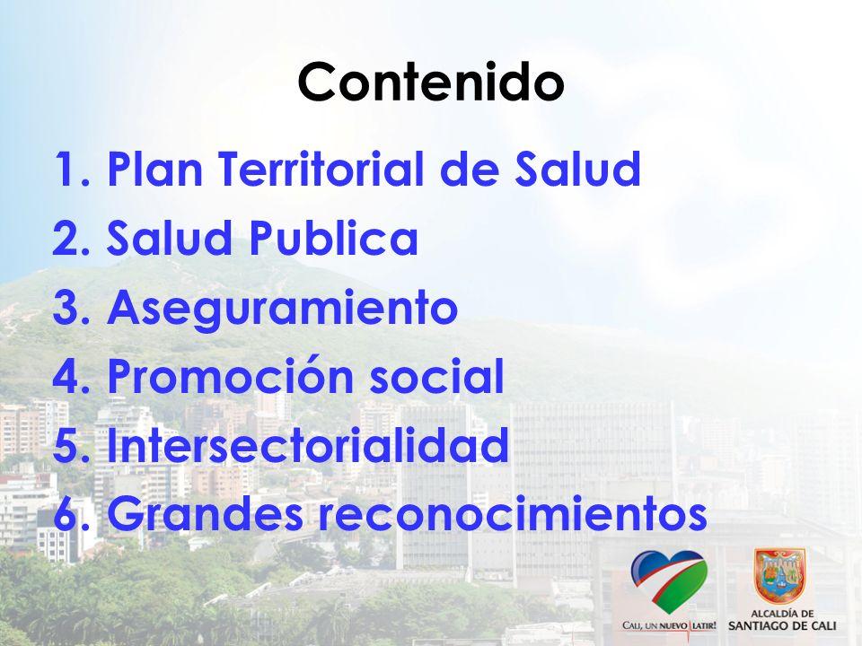 Contenido 1. Plan Territorial de Salud 2. Salud Publica 3. Aseguramiento 4. Promoción social 5. Intersectorialidad 6. Grandes reconocimientos