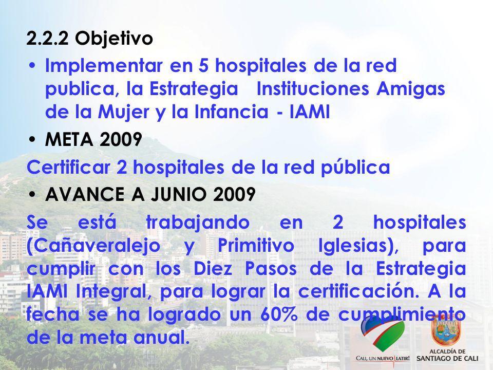 2.2.2 Objetivo Implementar en 5 hospitales de la red publica, la Estrategia Instituciones Amigas de la Mujer y la Infancia - IAMI META 2009 Certificar