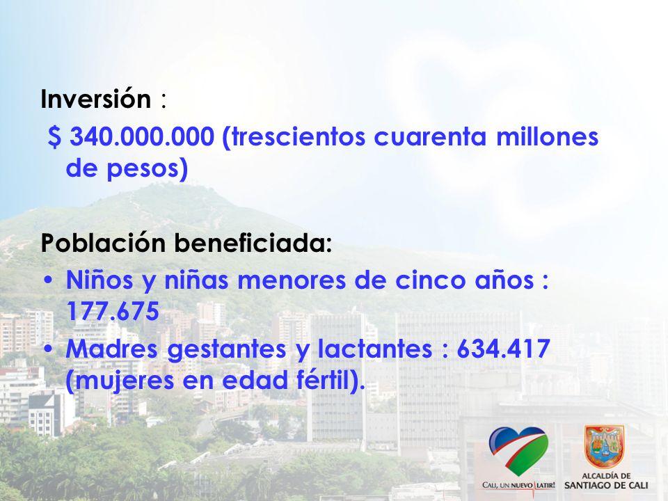 Inversión : $ 340.000.000 (trescientos cuarenta millones de pesos) Población beneficiada: Niños y niñas menores de cinco años : 177.675 Madres gestant