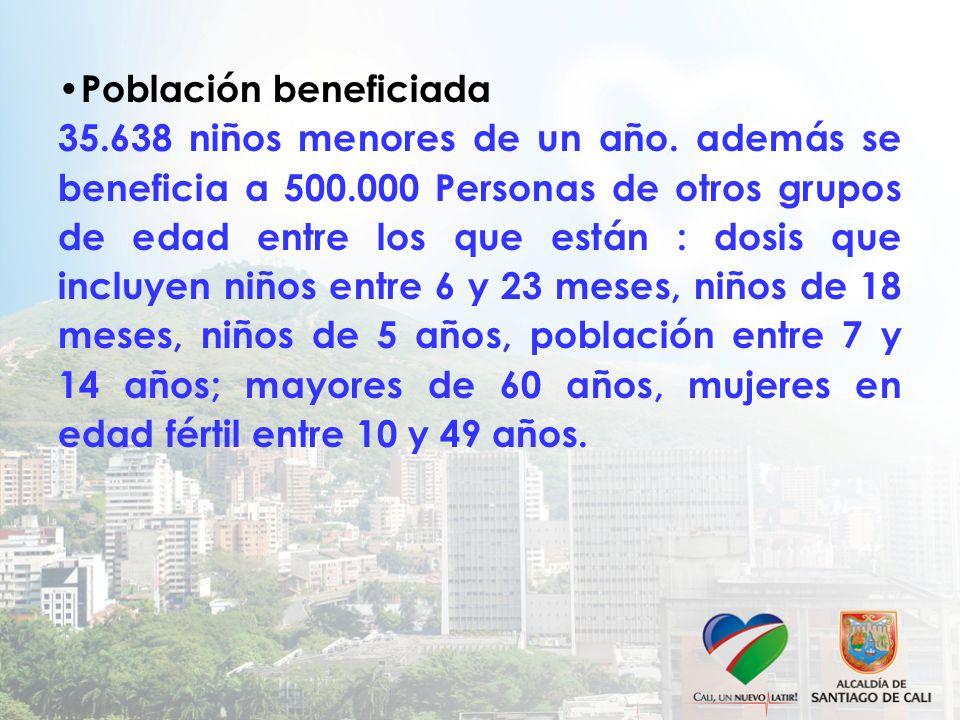 Población beneficiada 35.638 niños menores de un año. además se beneficia a 500.000 Personas de otros grupos de edad entre los que están : dosis que i