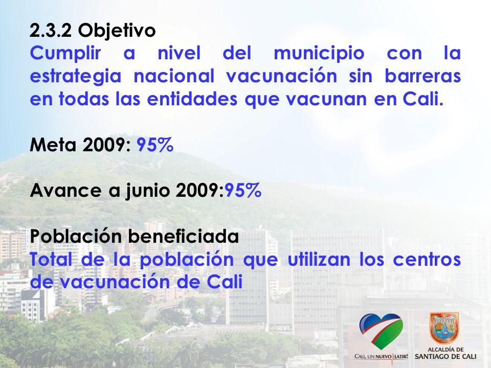 2.3.2 Objetivo Cumplir a nivel del municipio con la estrategia nacional vacunación sin barreras en todas las entidades que vacunan en Cali. Meta 2009: