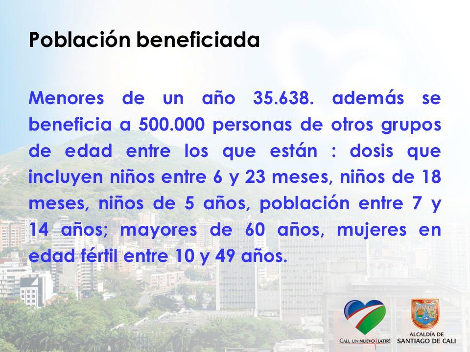 Población beneficiada Menores de un año 35.638. además se beneficia a 500.000 personas de otros grupos de edad entre los que están : dosis que incluye