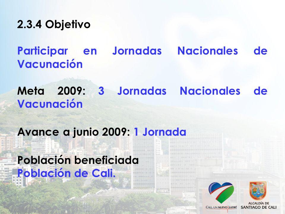 2.3.4 Objetivo Participar en Jornadas Nacionales de Vacunación Meta 2009: 3 Jornadas Nacionales de Vacunación Avance a junio 2009: 1 Jornada Población beneficiada Población de Cali.