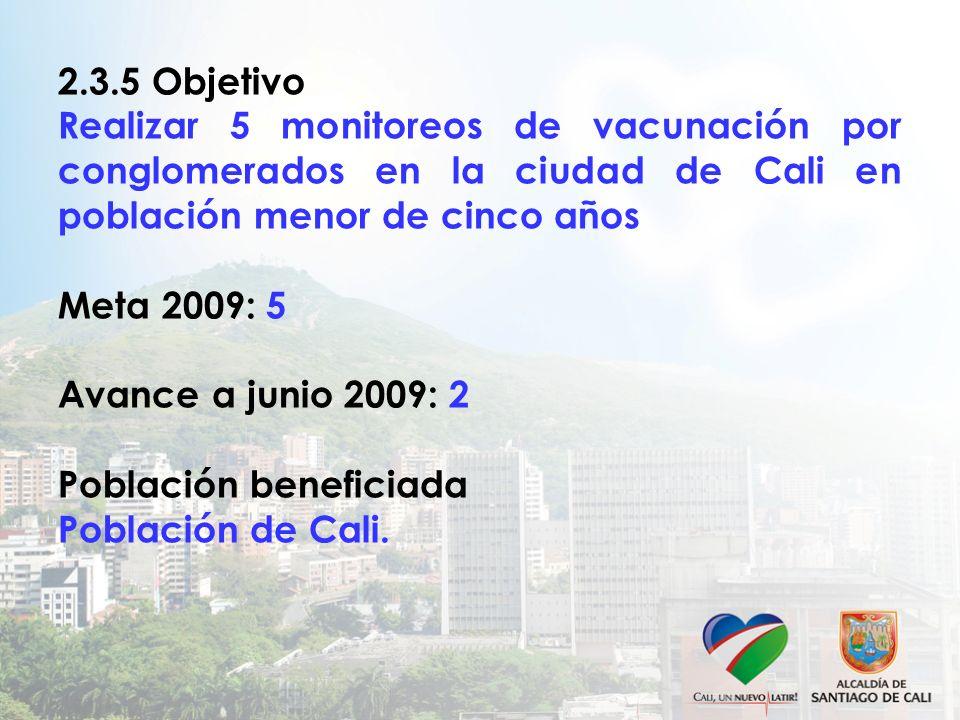 2.3.5 Objetivo Realizar 5 monitoreos de vacunación por conglomerados en la ciudad de Cali en población menor de cinco años Meta 2009: 5 Avance a junio