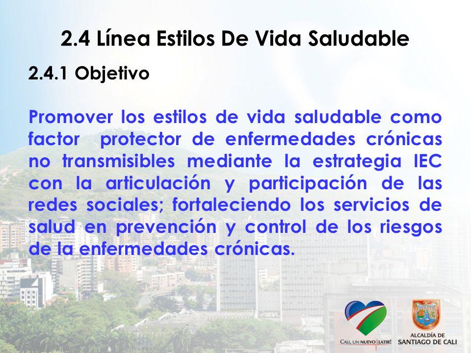 2.4 Línea Estilos De Vida Saludable 2.4.1 Objetivo Promover los estilos de vida saludable como factor protector de enfermedades crónicas no transmisib