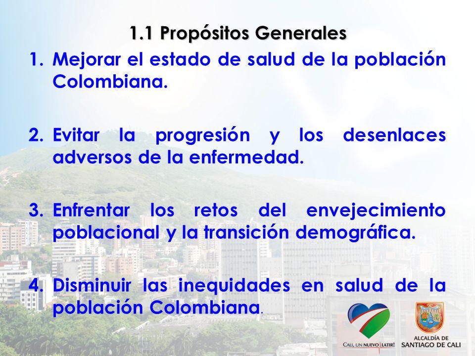 1.1 Propósitos Generales 1.Mejorar el estado de salud de la población Colombiana. 2.Evitar la progresión y los desenlaces adversos de la enfermedad. 3