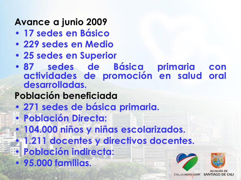 Avance a junio 2009 17 sedes en Básico 229 sedes en Medio 25 sedes en Superior 87 sedes de Básica primaria con actividades de promoción en salud oral desarrolladas.