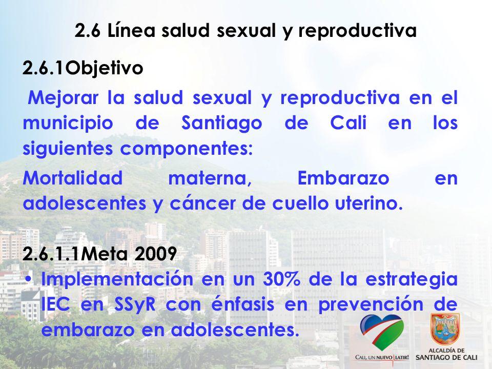 2.6 Línea salud sexual y reproductiva 2.6.1Objetivo Mejorar la salud sexual y reproductiva en el municipio de Santiago de Cali en los siguientes componentes: Mortalidad materna, Embarazo en adolescentes y cáncer de cuello uterino.