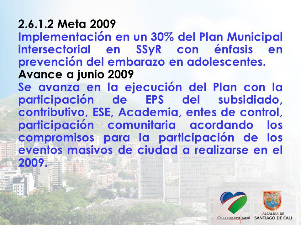 2.6.1.2 Meta 2009 Implementación en un 30% del Plan Municipal intersectorial en SSyR con énfasis en prevención del embarazo en adolescentes. Avance a