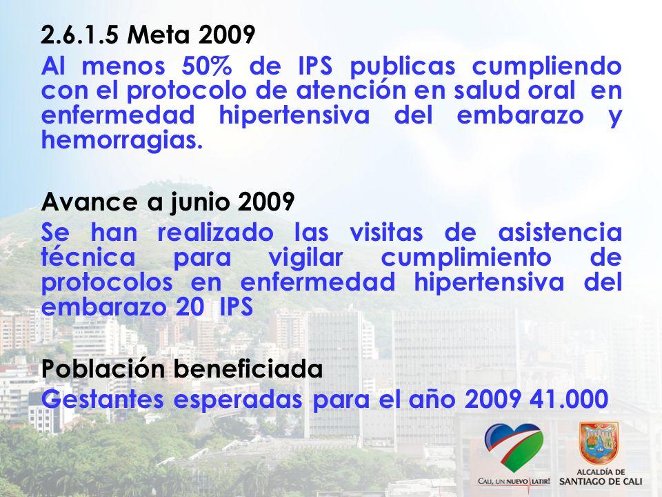 2.6.1.5 Meta 2009 Al menos 50% de IPS publicas cumpliendo con el protocolo de atención en salud oral en enfermedad hipertensiva del embarazo y hemorragias.