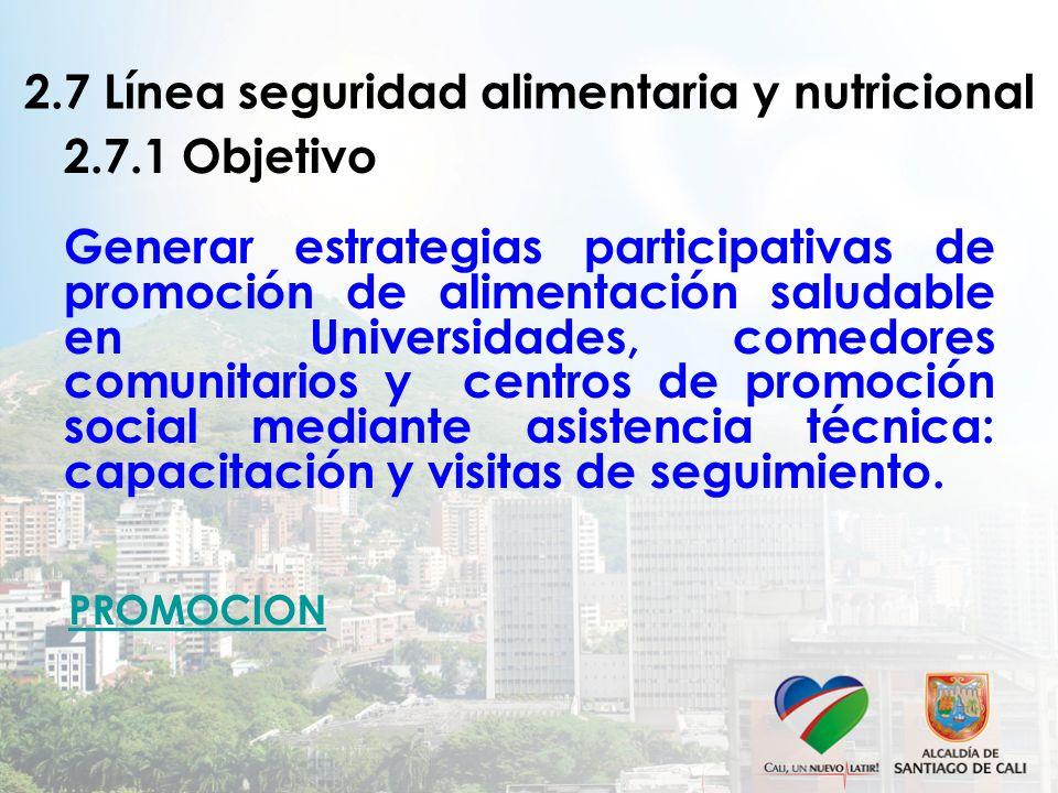 2.7 Línea seguridad alimentaria y nutricional 2.7.1 Objetivo Generar estrategias participativas de promoción de alimentación saludable en Universidade
