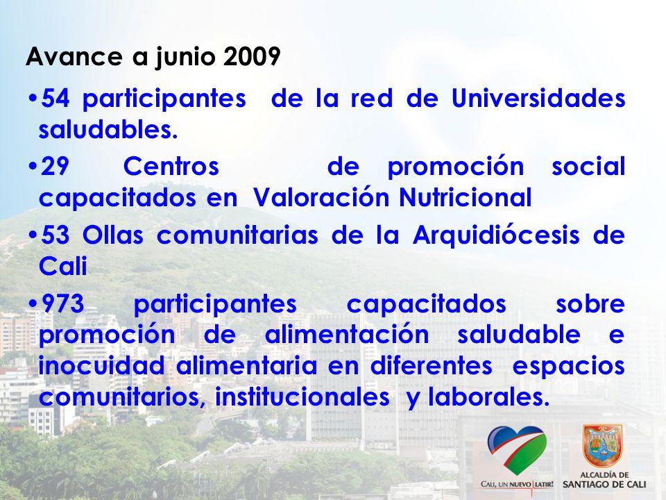 Avance a junio 2009 54 participantes de la red de Universidades saludables. 29 Centros de promoción social capacitados en Valoración Nutricional 53 Ol