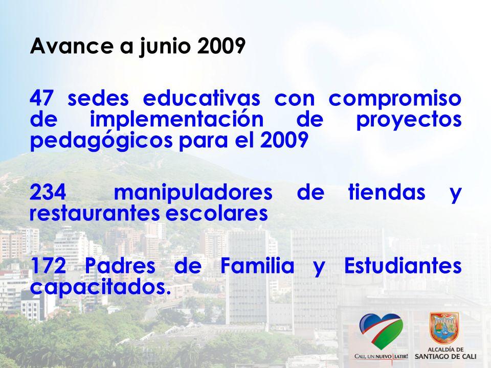 Avance a junio 2009 47 sedes educativas con compromiso de implementación de proyectos pedagógicos para el 2009 234 manipuladores de tiendas y restaurantes escolares 172 Padres de Familia y Estudiantes capacitados.