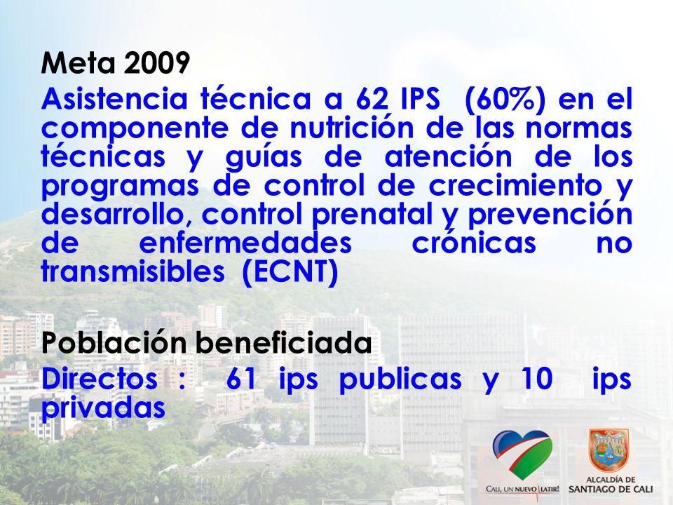 Meta 2009 Asistencia técnica a 62 IPS (60%) en el componente de nutrición de las normas técnicas y guías de atención de los programas de control de crecimiento y desarrollo, control prenatal y prevención de enfermedades crónicas no transmisibles (ECNT) Población beneficiada Directos : 61 ips publicas y 10 ips privadas