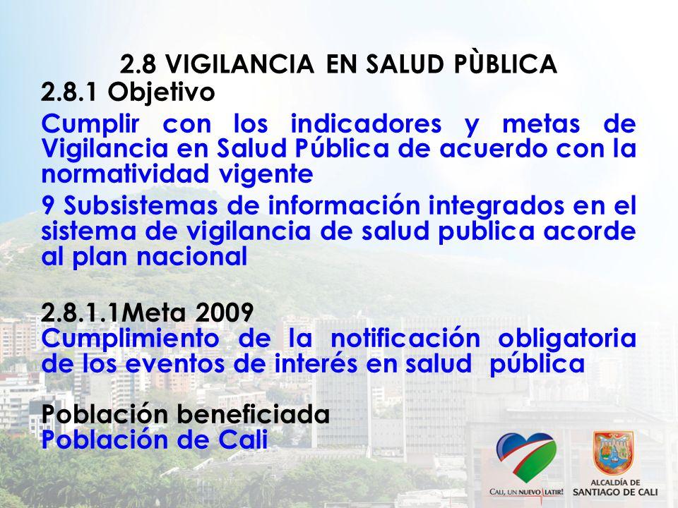 2.8 VIGILANCIA EN SALUD PÙBLICA 2.8.1 Objetivo Cumplir con los indicadores y metas de Vigilancia en Salud Pública de acuerdo con la normatividad vigen