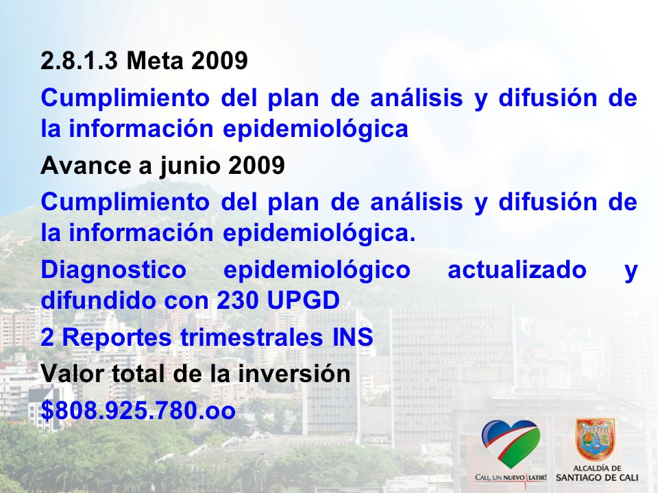 2.8.1.3 Meta 2009 Cumplimiento del plan de análisis y difusión de la información epidemiológica Avance a junio 2009 Cumplimiento del plan de análisis y difusión de la información epidemiológica.