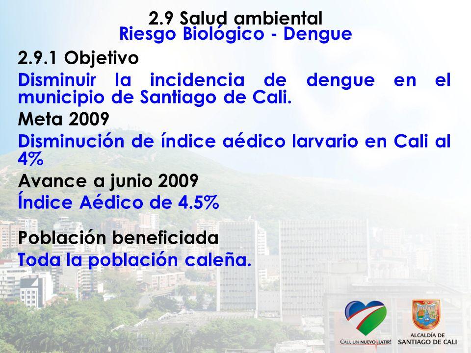 2.9 Salud ambiental Riesgo Biológico - Dengue 2.9.1 Objetivo Disminuir la incidencia de dengue en el municipio de Santiago de Cali. Meta 2009 Disminuc