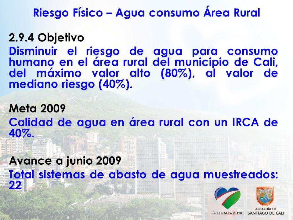 Riesgo Físico – Agua consumo Área Rural 2.9.4 Objetivo Disminuir el riesgo de agua para consumo humano en el área rural del municipio de Cali, del máximo valor alto (80%), al valor de mediano riesgo (40%).