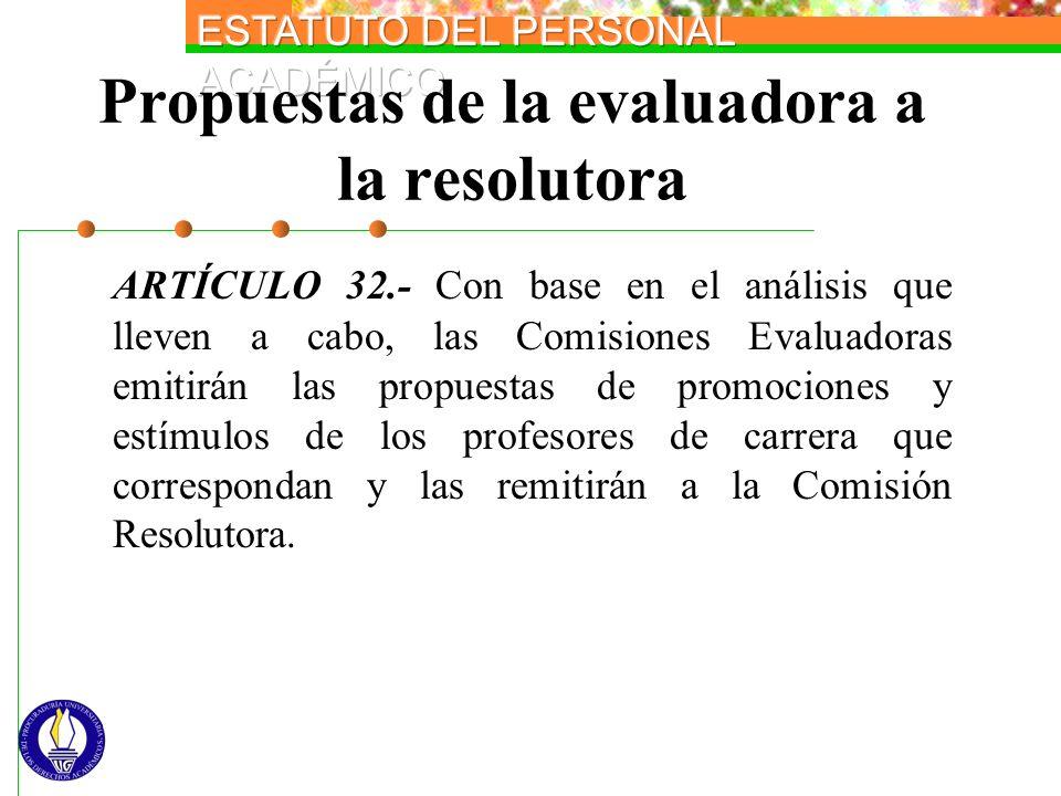 Propuestas de la evaluadora a la resolutora ARTÍCULO 32.- Con base en el análisis que lleven a cabo, las Comisiones Evaluadoras emitirán las propuesta
