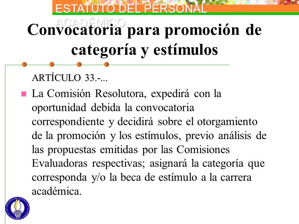 Convocatoria para promoción de categoría y estímulos ARTÍCULO 33.-... La Comisión Resolutora, expedirá con la oportunidad debida la convocatoria corre