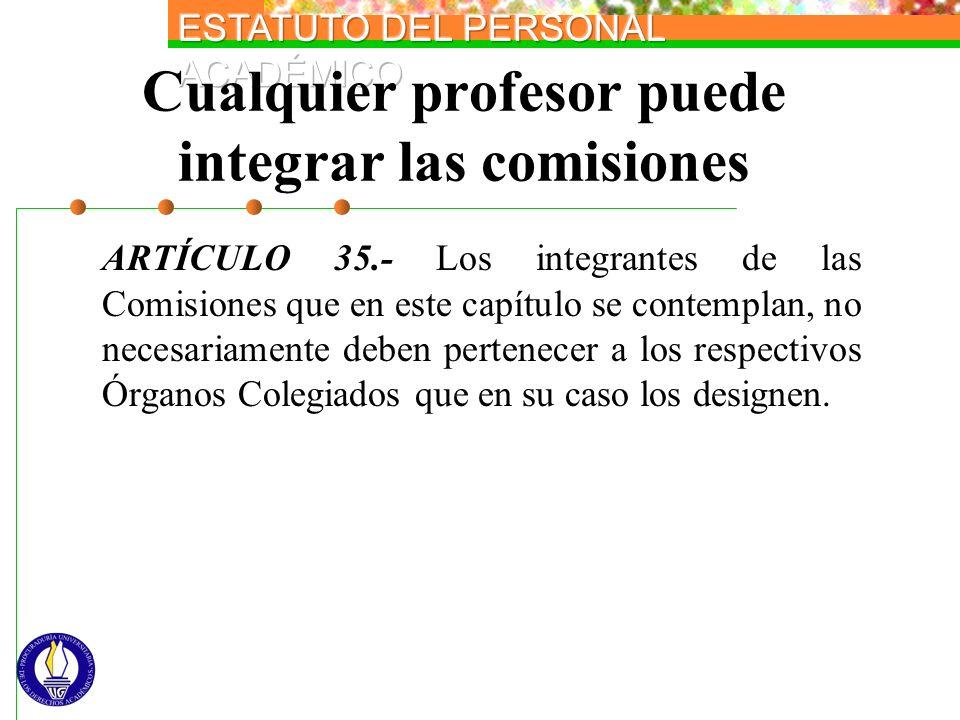 Cualquier profesor puede integrar las comisiones ARTÍCULO 35.- Los integrantes de las Comisiones que en este capítulo se contemplan, no necesariamente