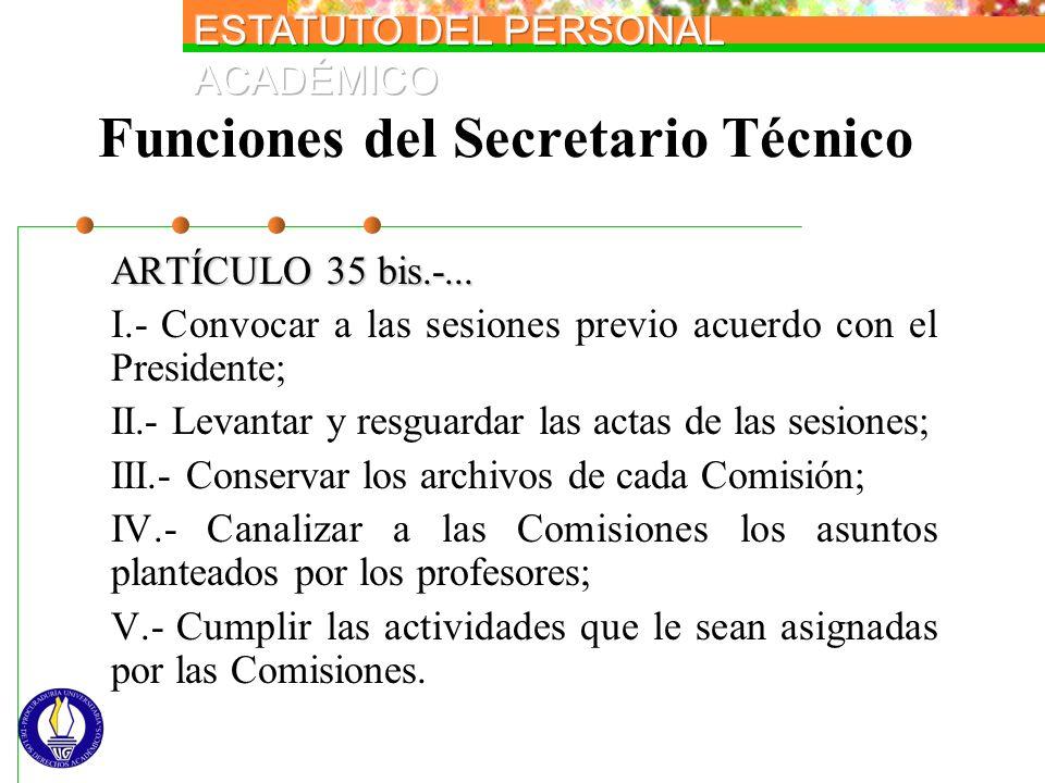 Funciones del Secretario Técnico ARTÍCULO 35 bis.-... I.- Convocar a las sesiones previo acuerdo con el Presidente; II.- Levantar y resguardar las act