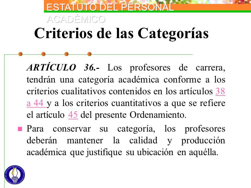 Criterios de las Categorías ARTÍCULO 36.- Los profesores de carrera, tendrán una categoría académica conforme a los criterios cualitativos contenidos