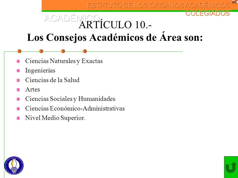 ARTÍCULO 10.- Los Consejos Académicos de Área son: Ciencias Naturales y Exactas Ingenierías Ciencias de la Salud Artes Ciencias Sociales y Humanidades